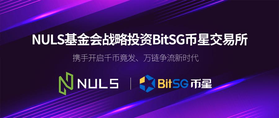 NULS基金会战略投资BitSG币星交易所,携手开启千币竟发、万链争流新时代