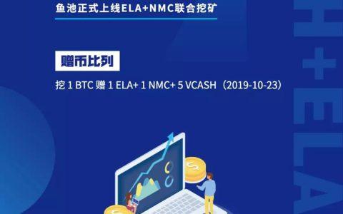 挖BTC赠VCASH+ELA+NMC!鱼池正式上线ELA+NMC联合挖矿